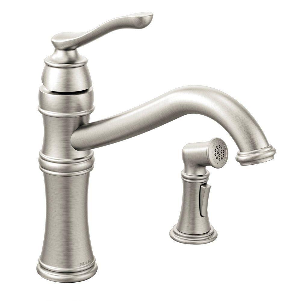 MOEN Belfield Single-Handle Standard Kitchen Faucet with Side ...