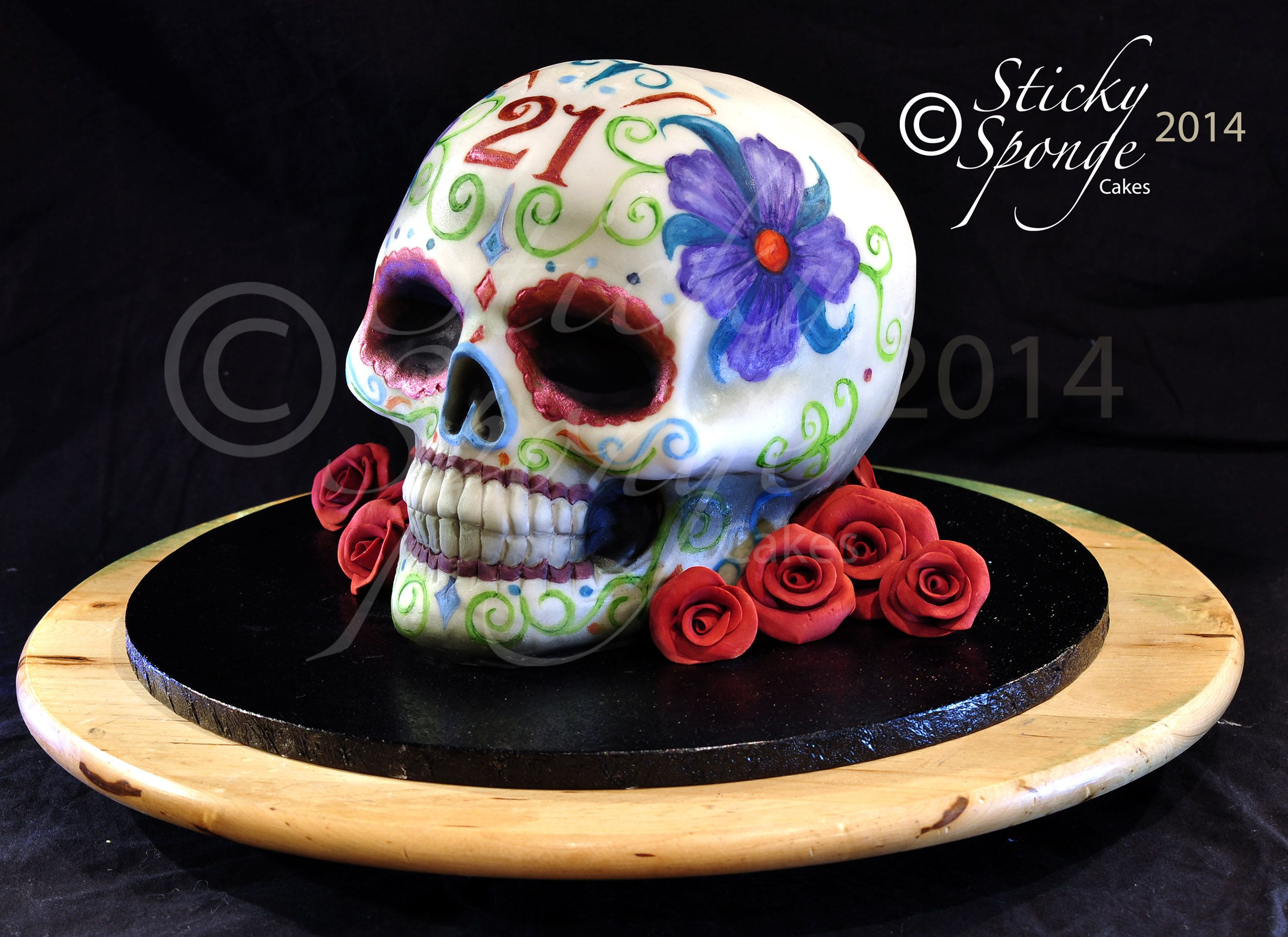 A Mexican Sugar Skull Cake For A 21st Birthday Red Velvet