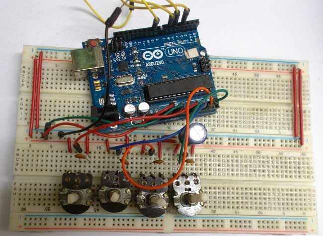 Breadboard Setup Of Arduino Based Robotic Arm Arduino 4 All