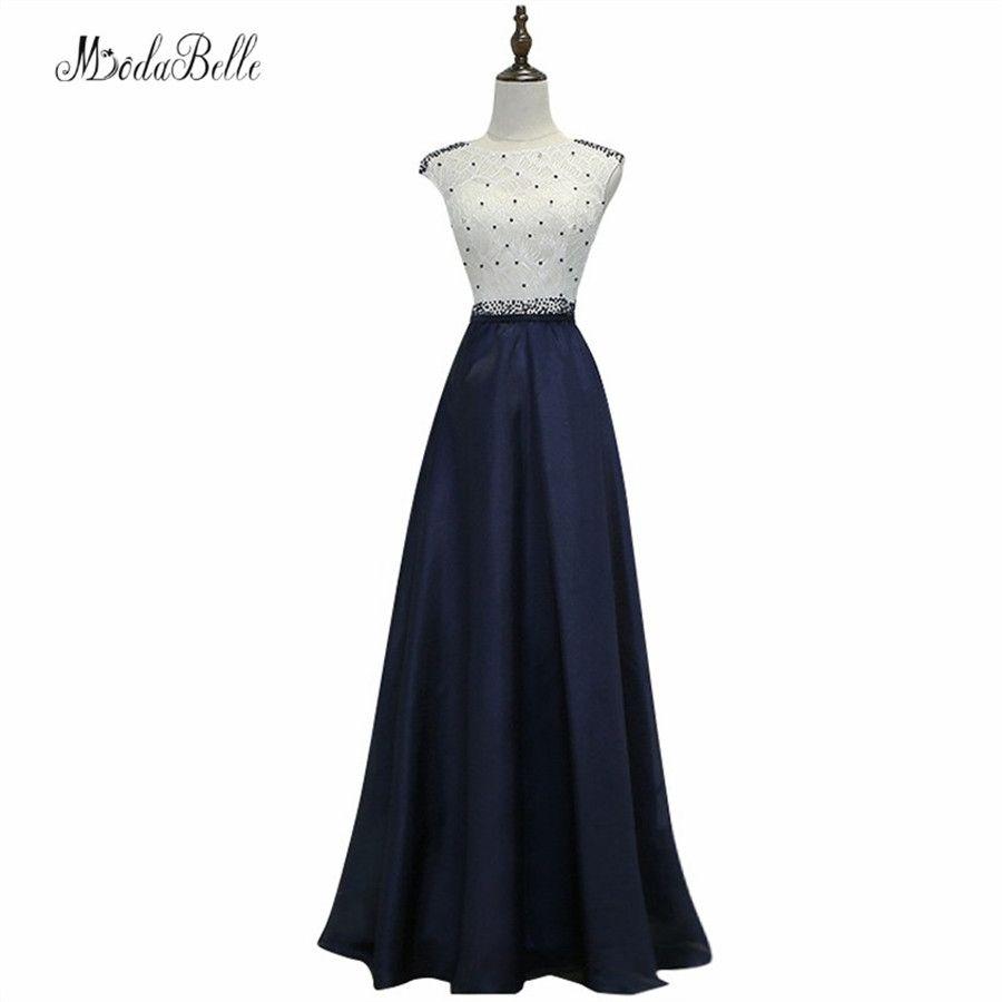 modabelle Pearls Navy Blue Evening Dress Robe Soiree Longue Femme 2017 Cap  Sleeve A-line cdd34ffc02c0