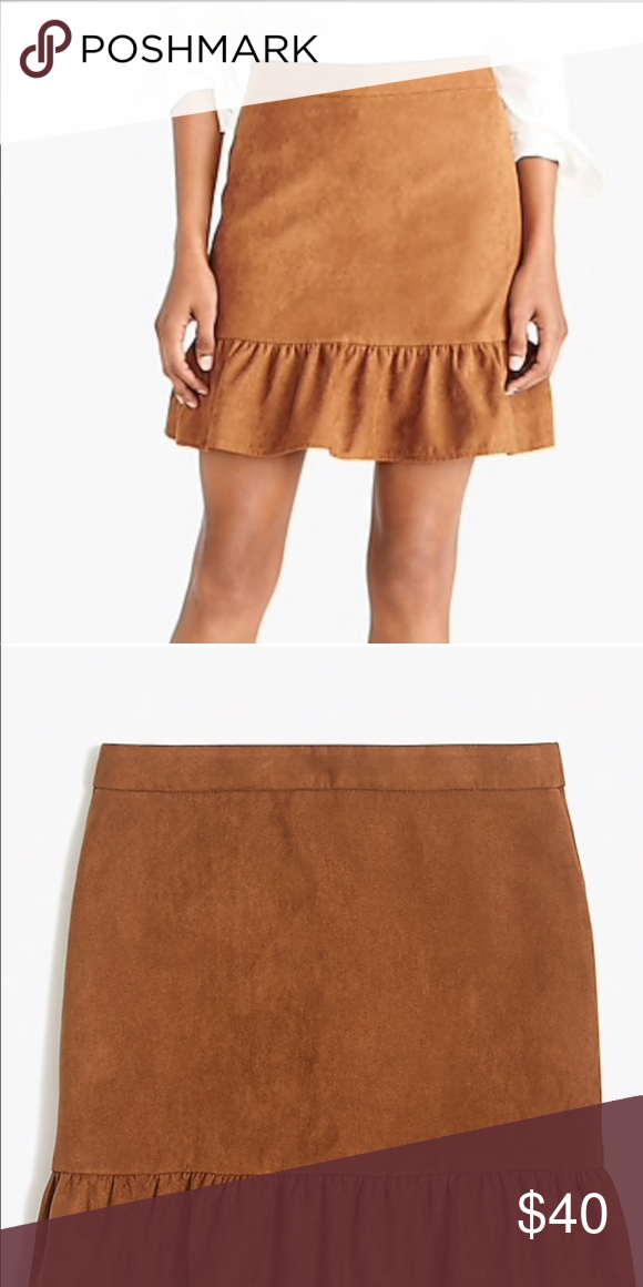172917ac9 J. Crew Faux Suede Mini Skirt New with tags! Jcrew faux suede mini skirt  with ruffle. Zips up back. Size 4. So cute! J. Crew Factory Skirts Mini