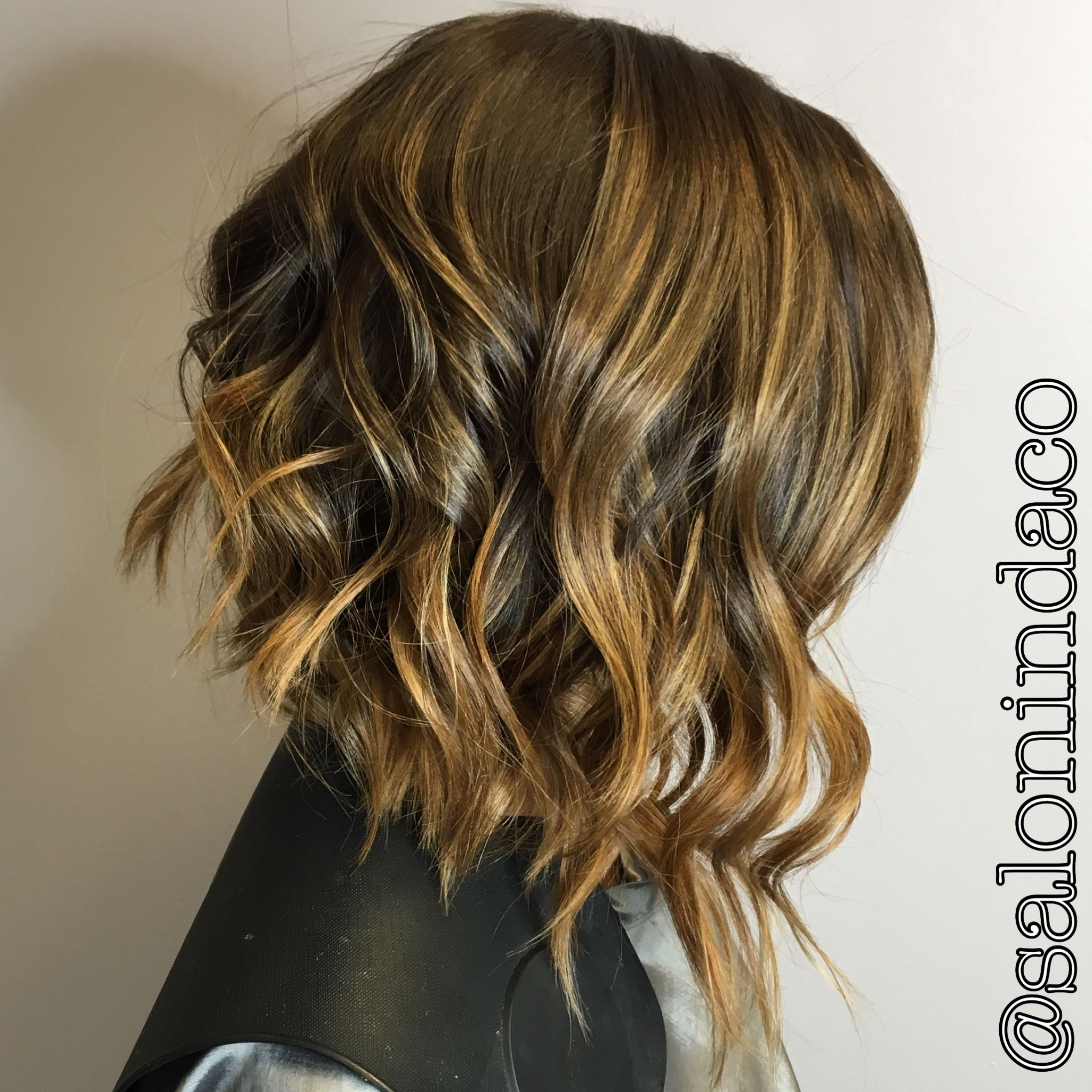Swing Bob Cut Balayage Ombr Caramel Highlights With Chocolate Brown