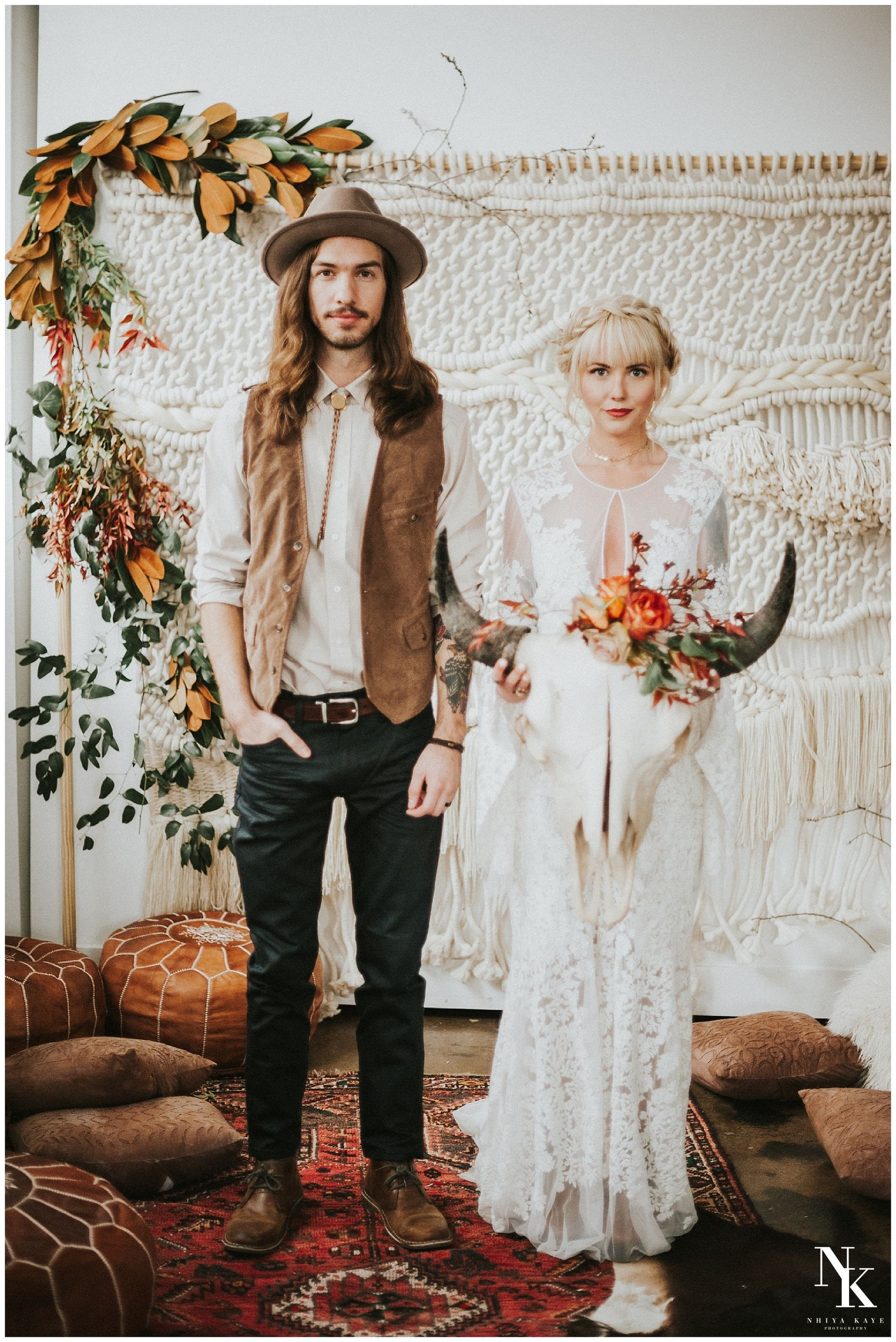 Winter boho bride urban bohemian edgy wedding dress rue de seine