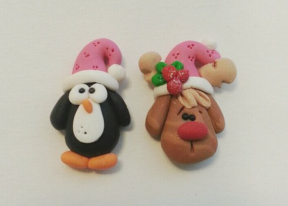 SALE Christmas  Penquin and Rudolph Polymer Clay Charm Bead, Scrapbooking, Bow Center, Pendant, Cupcake topper, Magnet, Ring
