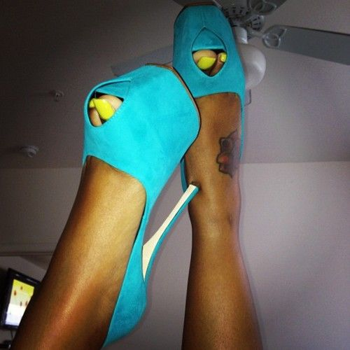 Yellow Toe Nail Polish And Blue Heels!