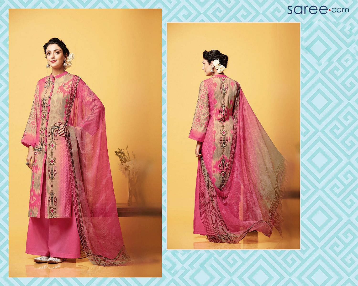 PINK AND BEIGE COTTON SATIN PRINTED SUIT