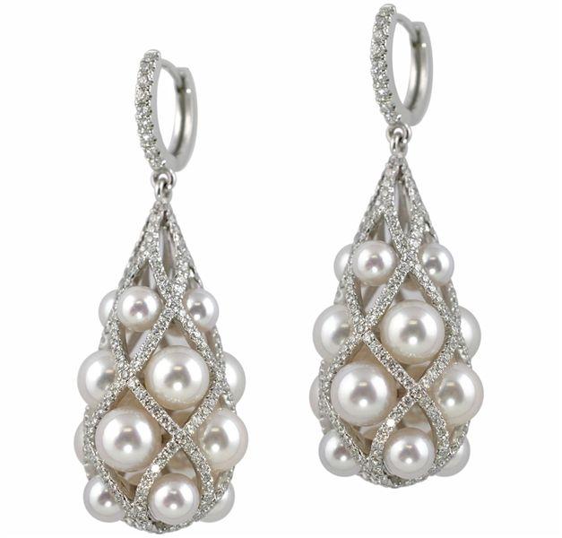 Baggins Japanese Akoya pearl and diamond teardrop earrings in 18k white gold