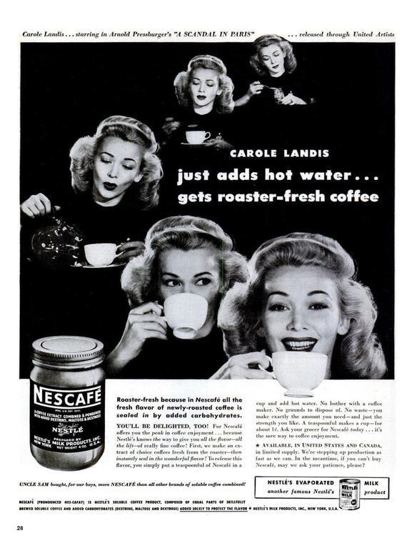 1946 Carole Landis Nescafé Instant Coffee Nestle Advertisement A