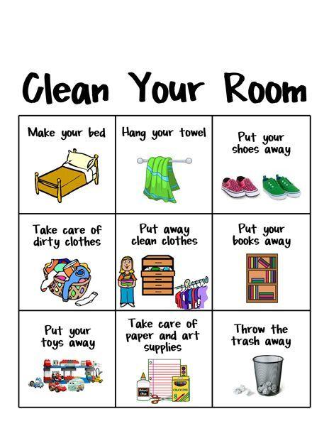 Go Clean Your Room Help For Young Kids Tabla De Tareas Para
