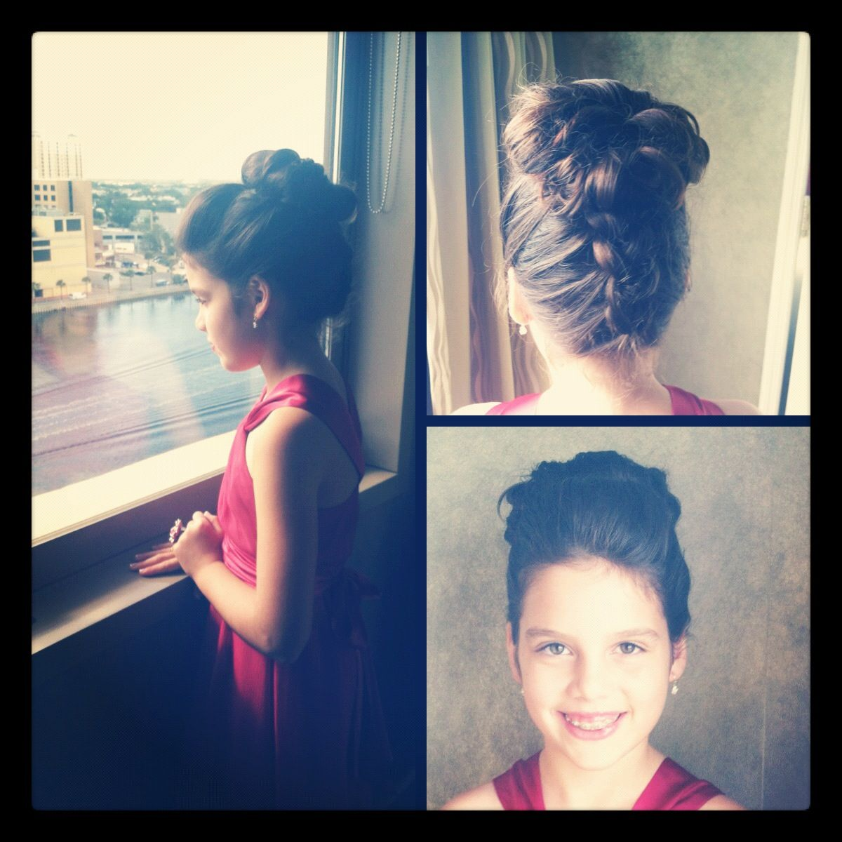 Wedding Hairstyles For Junior Bridesmaids: Junior Bridesmaid Hair. French Braided Up The Back With A