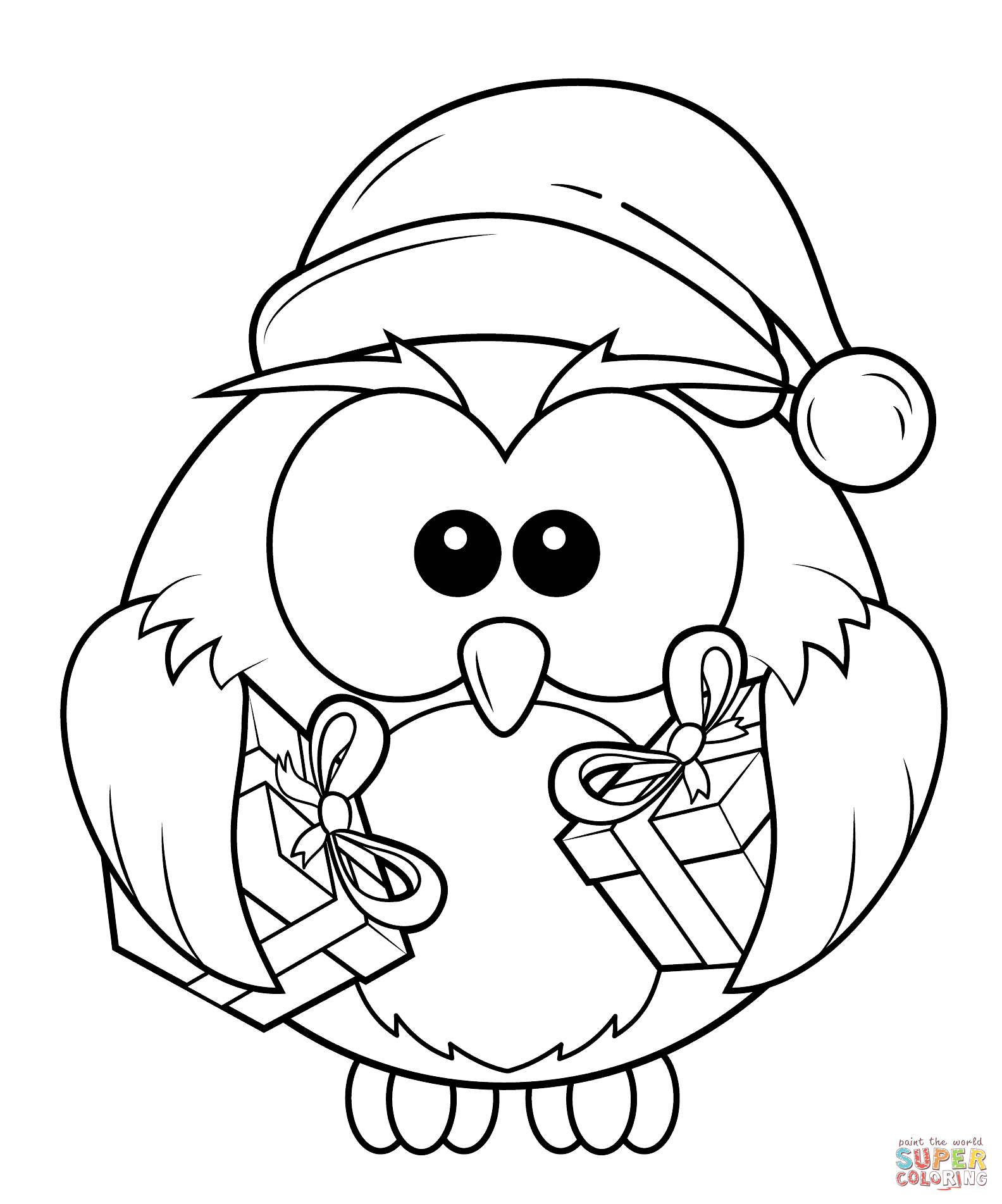 christmas owl with gift boxes coloring pagepng 15841903
