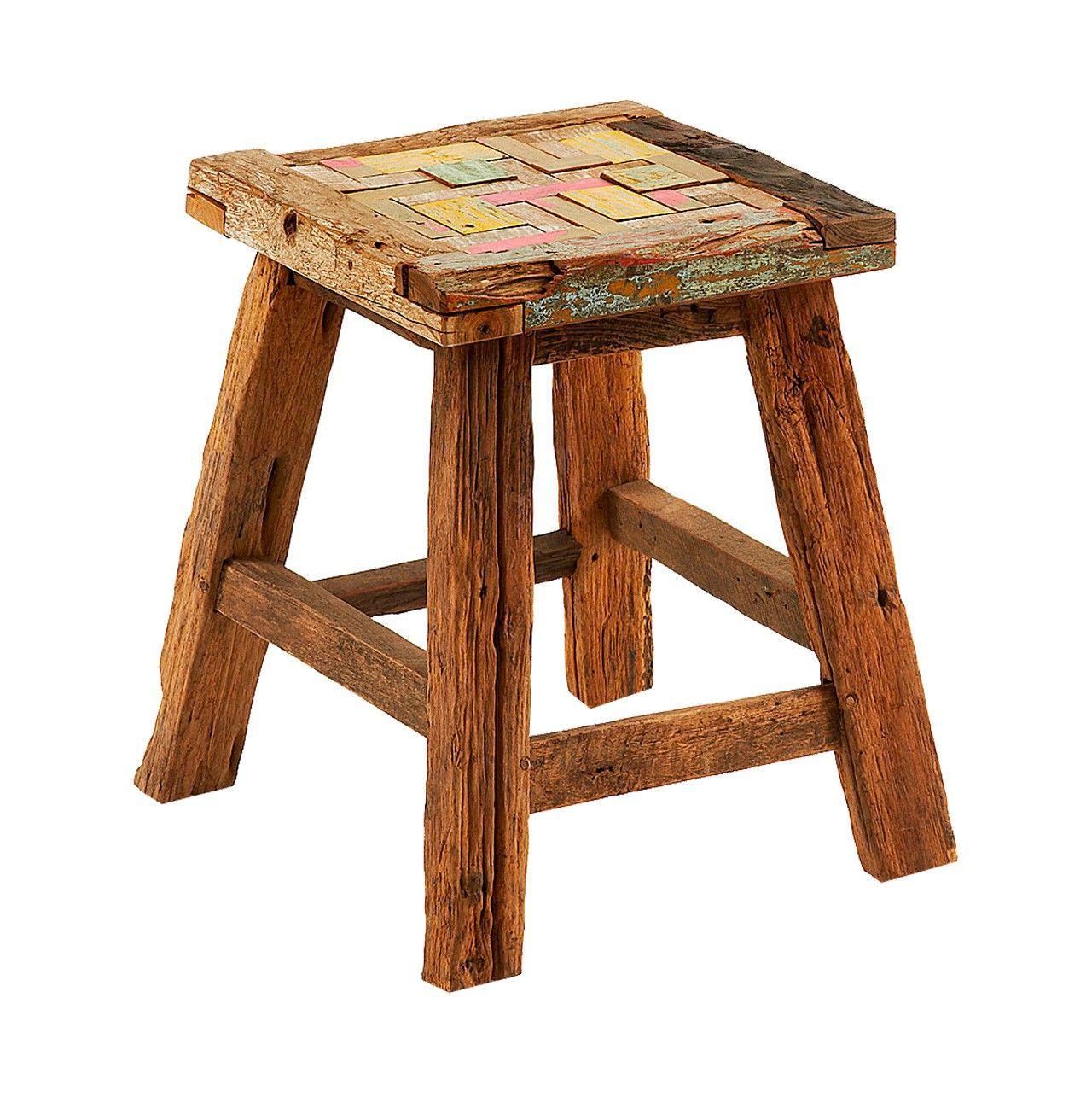 Taburete/reposapies en mosaicos de #madera tropical #reciclada ...