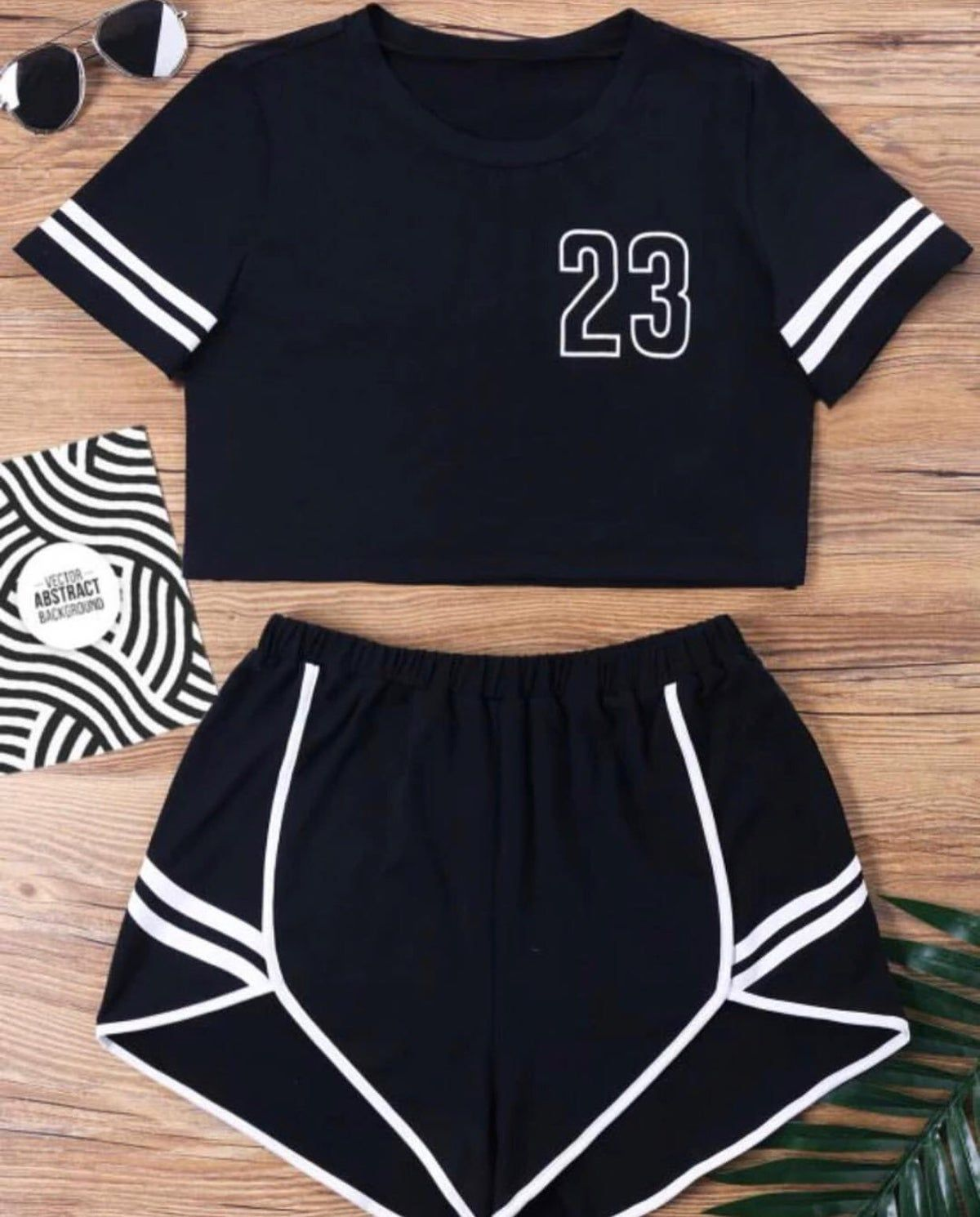 JESPER Women Cute Casual Summer Letter Print Short Sleeve Tees Top and Shorts Sporty Set
