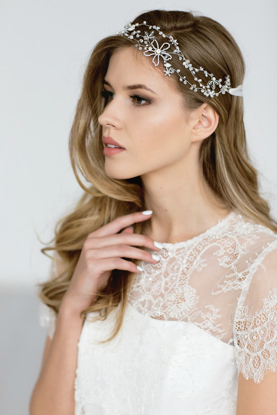 Wedding Headpiece , Bridal Headband, Wedding Hair Vine , Wedding Hair Accessories, Opal Bridal Headp