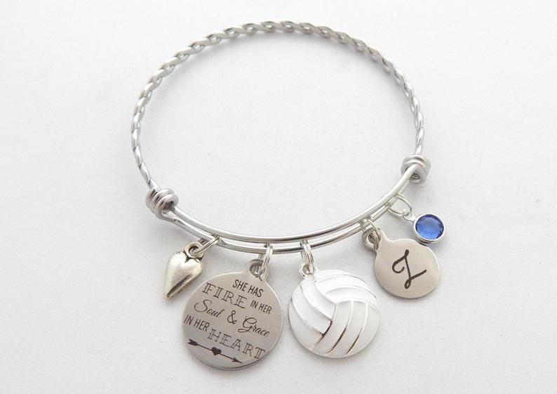 Volleyball Gift Volleyball Bracelet Sports Jewelry Volleyball Etsy In 2020 Sports Jewelry Charms Swarovski Jewelry