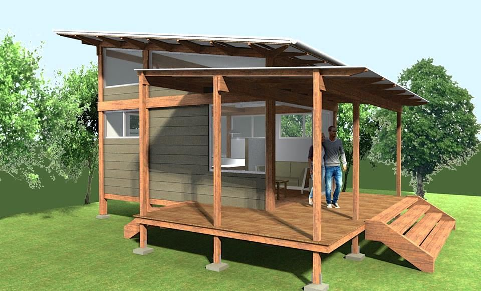 This is a 200 sq ft Pavilion tiny house design called Tiny Pav 2