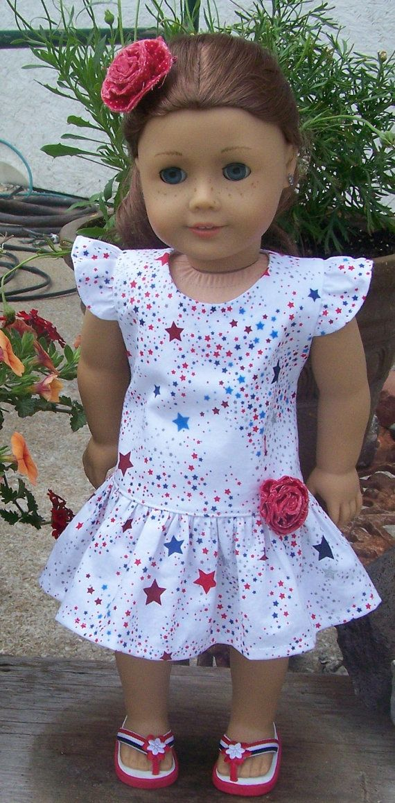 American Girl Doll Clothes American Stars Patriotic Flutter Sleeve Dress with… #girldollclothes