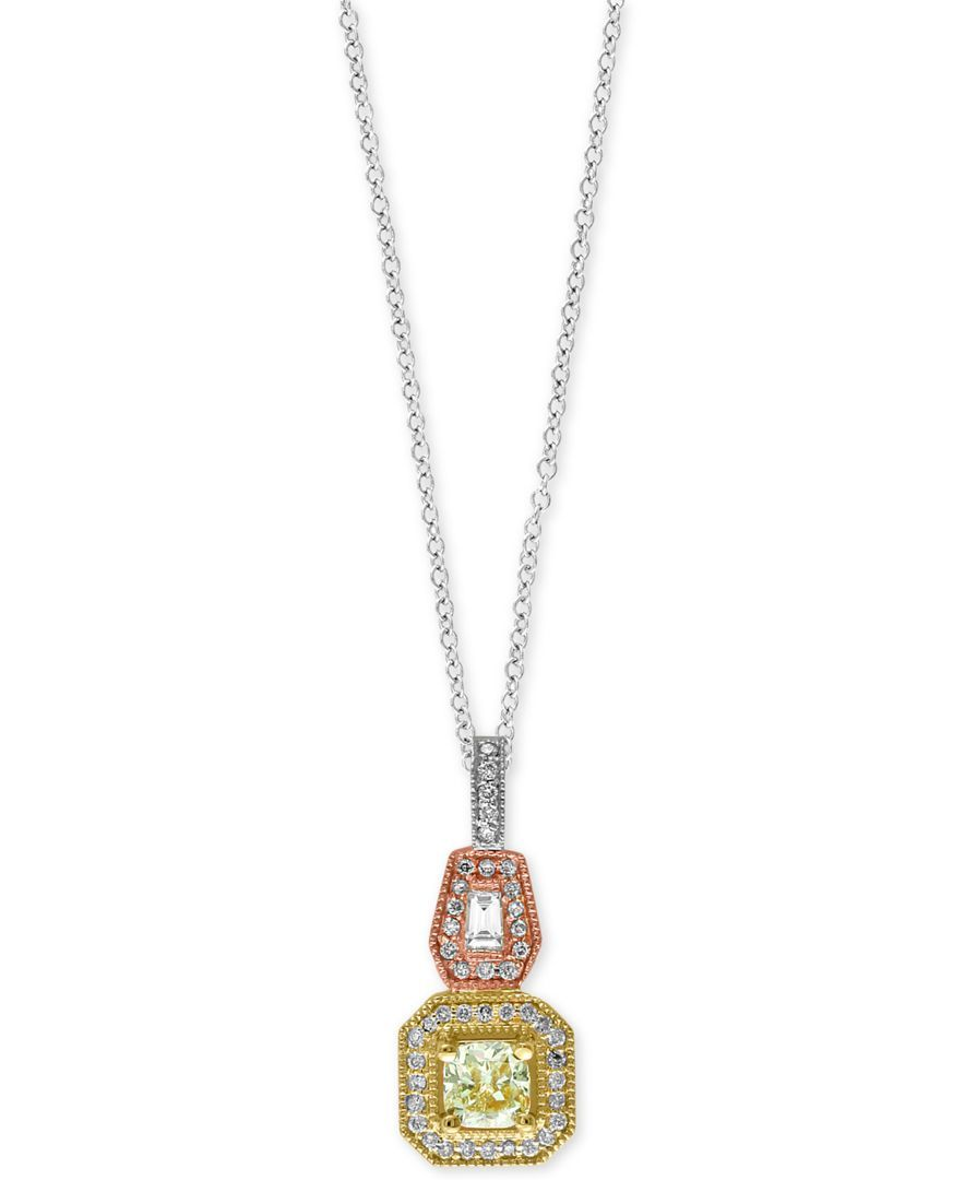 Canare by effy diamond tricolor pendant necklace ct tw in