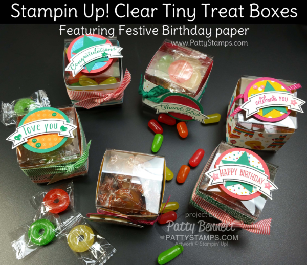 Stampin' UP! Clear Tiny Treat Boxes Perfect For DIY Party