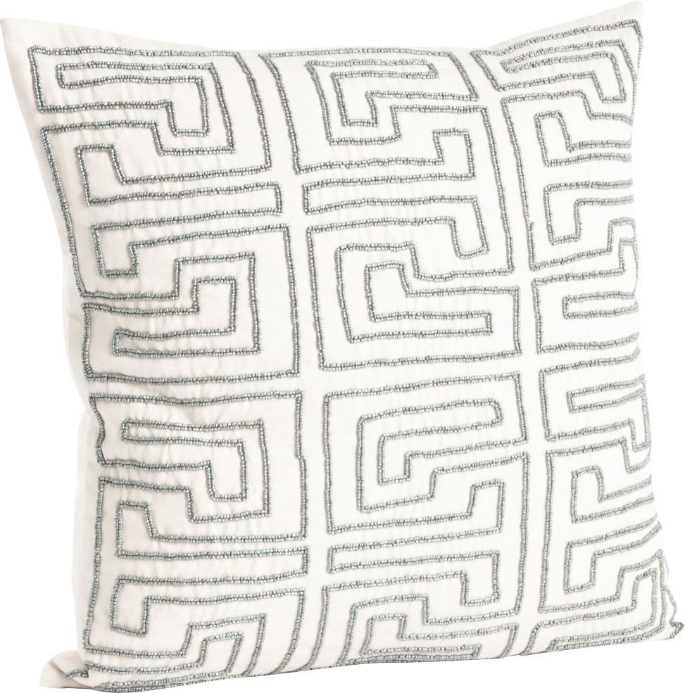 Maize Design Beaded Cotton Throw Pillow