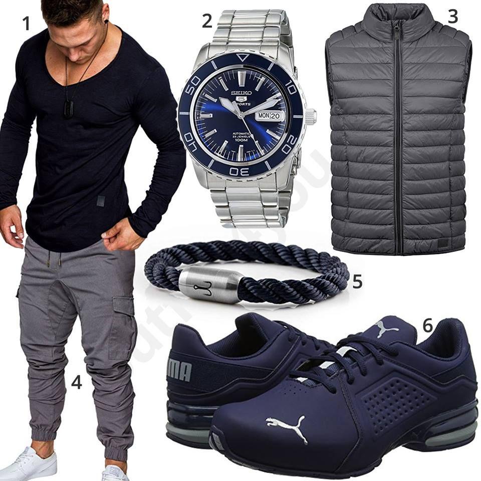 Blau-Grauer Herren-Style mit Longsleeve und Steppweste ...