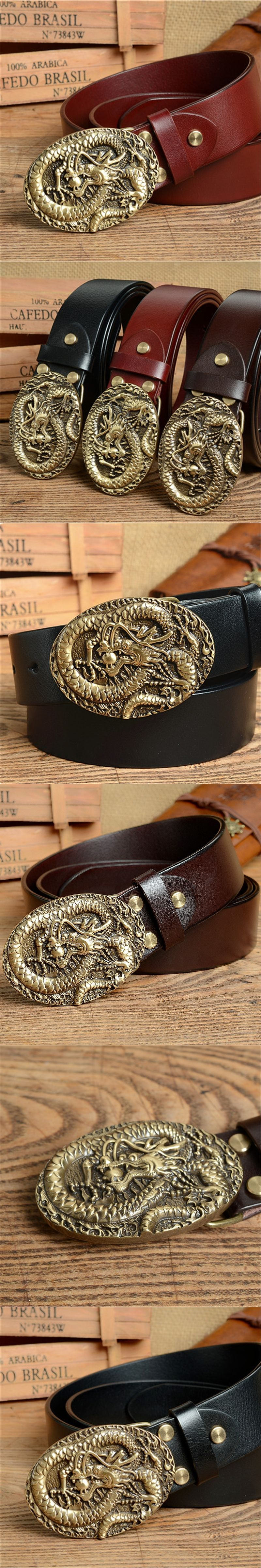 3D Brass Dragon Belt Buckle Mens Belts Luxury Genuine Leather Men Belt  Vintage Ceinture Homme Cinturones e8aecacc663
