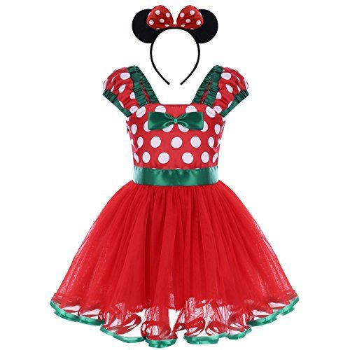 3165683dd Price: (as of - Details) ❤ Fashionable baby girls Minnie princess dress,  polka dot design, tulle spliced, highlight your baby girls' sweetness.
