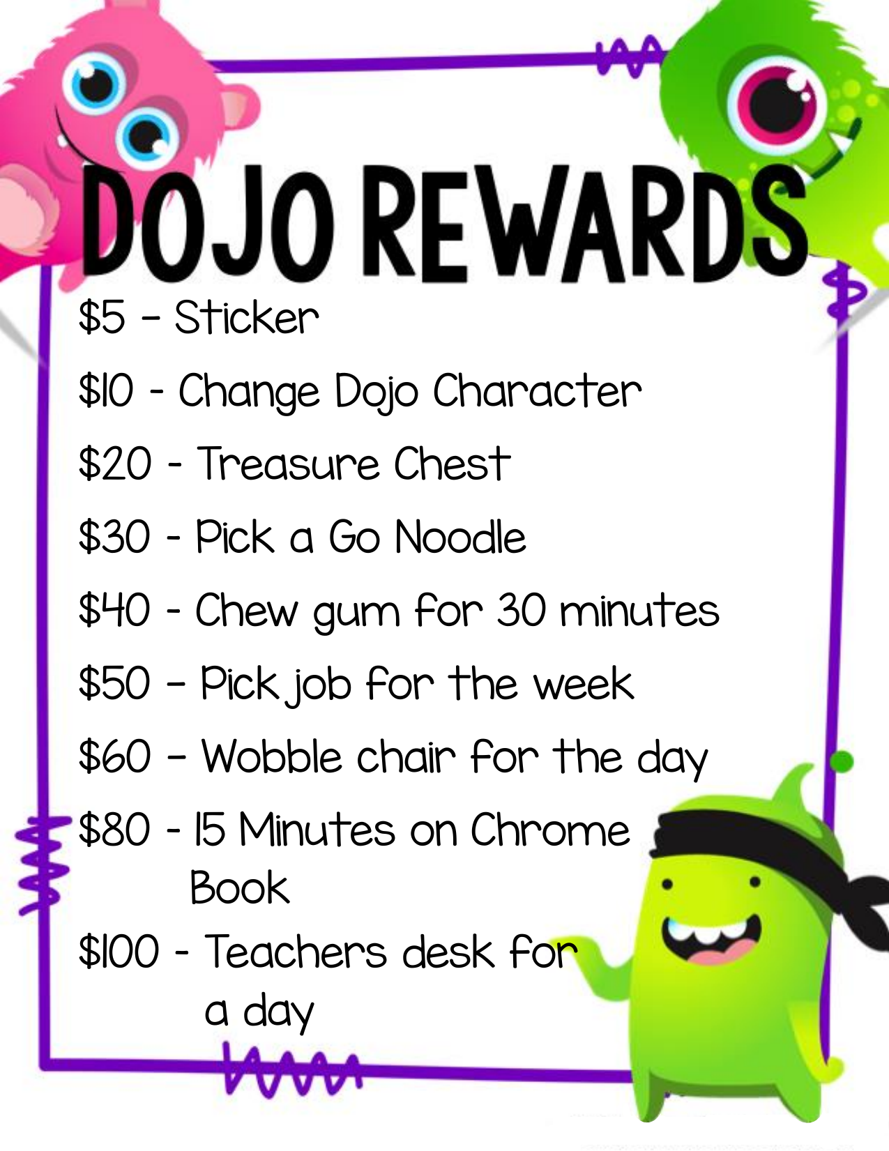 Class Dojo Reward Chart And Money With Images