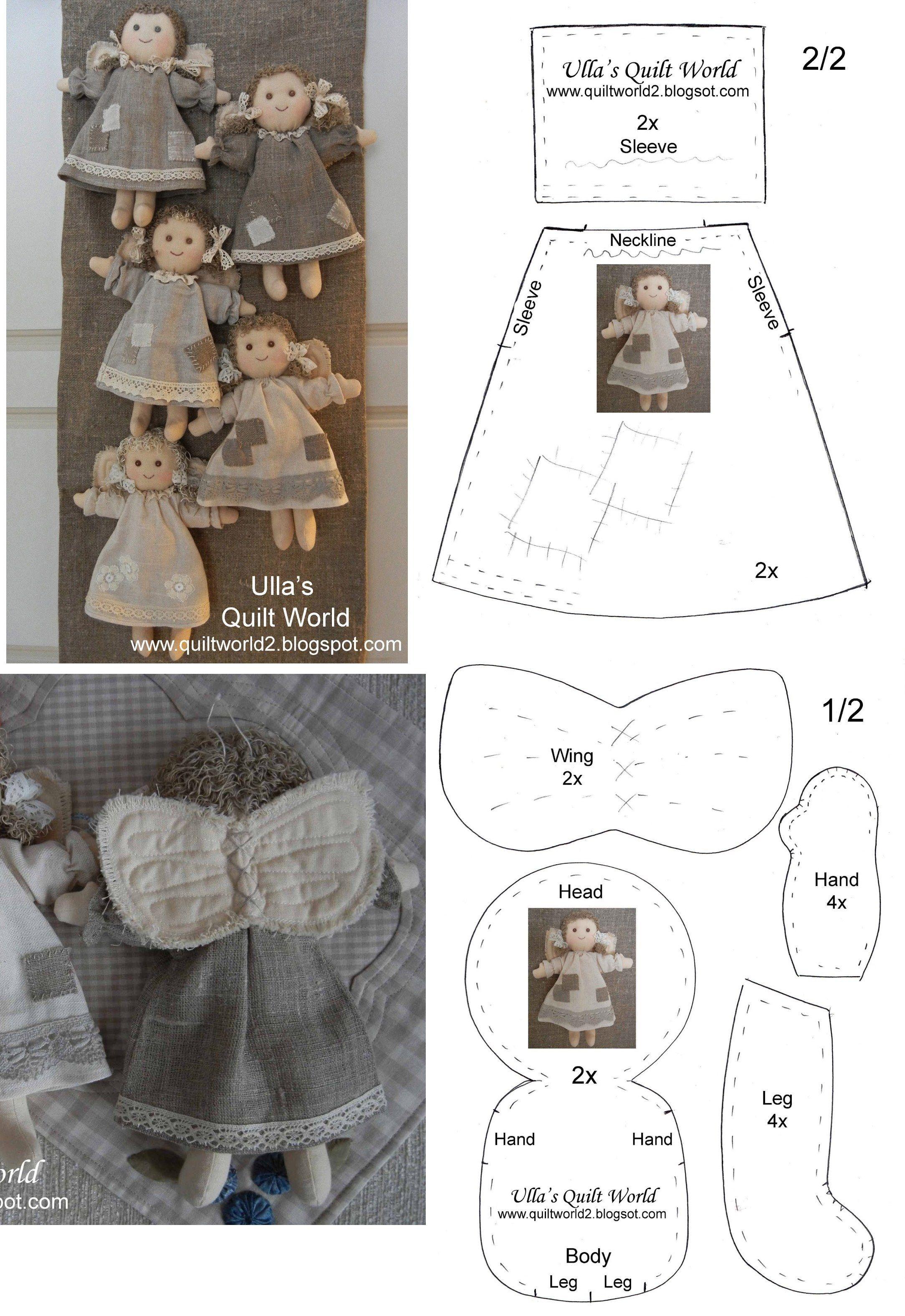 Angelitos. Incluye patrones. | Bonecas | Molde, Molde boneca de pano ...