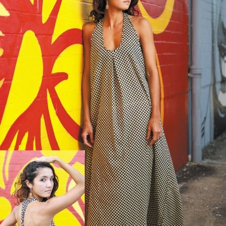 Oriana Filiaci: CHAI Studio 'Sunset' dress in polka dot, one size fits all $80, Jaipur Jewelry 'Moti' gold-dipped sterling silver hoop earrings $220 exclusive to CHAI Studio