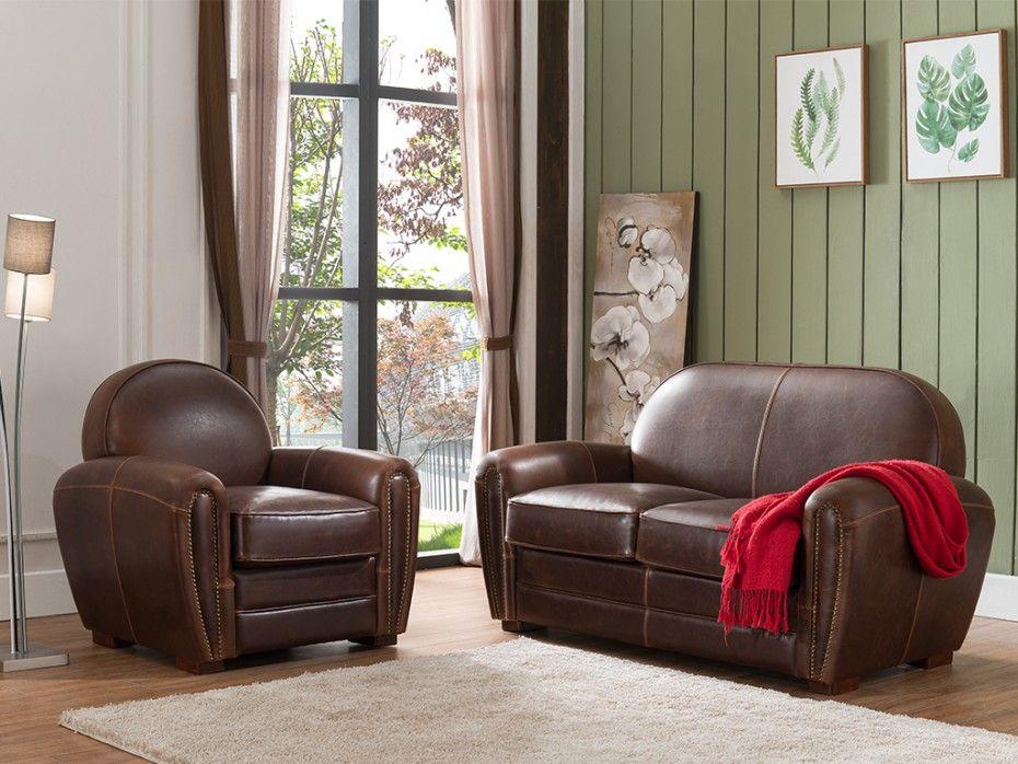 0d542bf5e2be05 Canapé et fauteuil club BAUDOIN en cuir vieilli - Chocolat   salon ...
