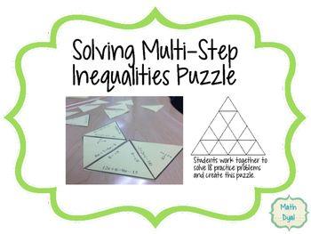 Multi Step Inequalities Puzzle Multi Step Inequalities Solving Inequalities Like Terms