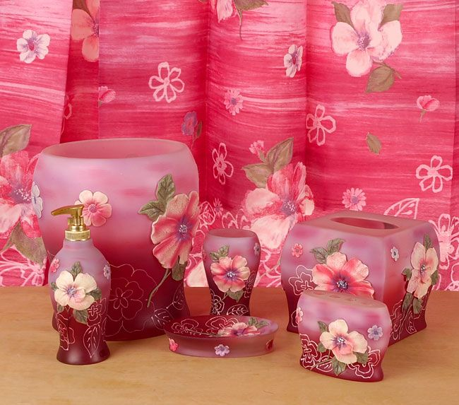 Fantasy Pink Bathroom Accessories Set W/ Shower Curtain