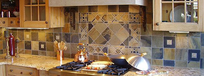 High Quality Kitchen:Rustic Kitchen Tile Backsplash Ideas With Wood Cabinets And Exhaust  Also Kitchen Furniture With Stove And Oven Combine Granite Countertops On  ...