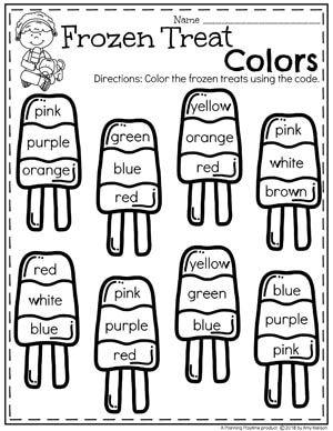 Color Words - Preschool Ice Cream Worksheets #colorsworksheets ...