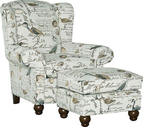 9020 Chair Amp Ottoman B Y Mayo In Birdsong Seamist Fabric