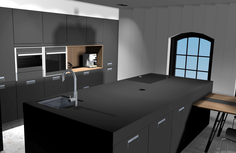 Strakke Zwarte Keuken : Keuken: dit moet het worden; strakke zwarte keuken met blad en