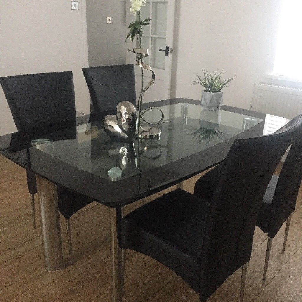 Smoked Glass With Black Simple Black Glass Dining Table Dgvvbhr