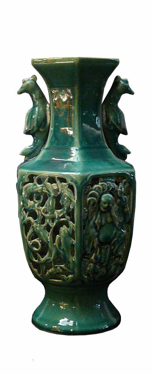 Chinese Thin Cermaic Green Glaze Motif Vase cs294as
