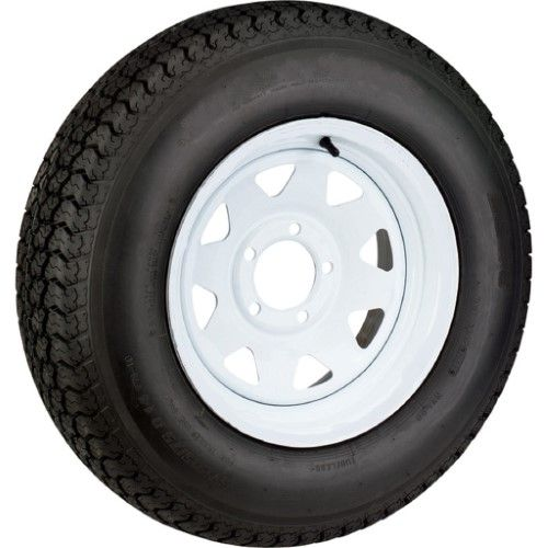 2 Pack Trailer Tires On White Rims St205 75d15 Load C 5 Lug On 5