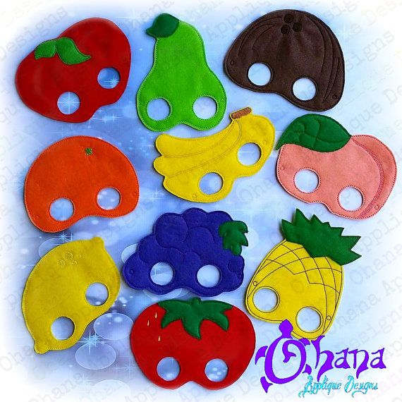 Fruit Mask SET ITH Machine Embroidery Pattern in the hoop embroidery pattern