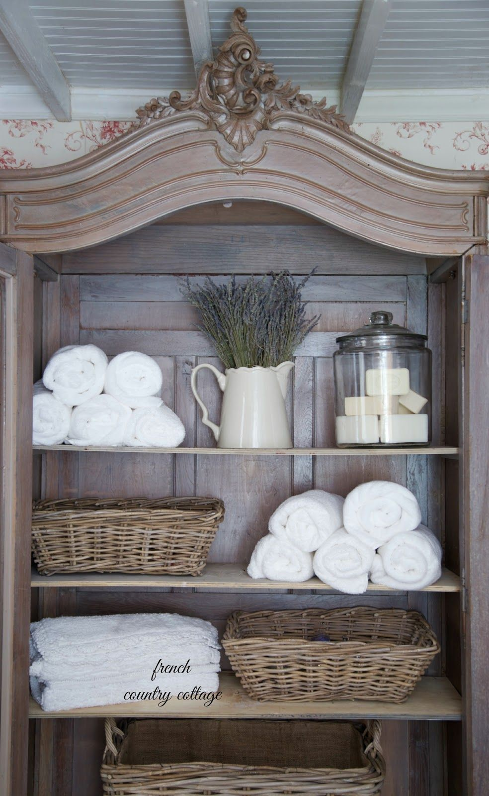 French country cottage crushing on baskets displays for French bathroom ideas