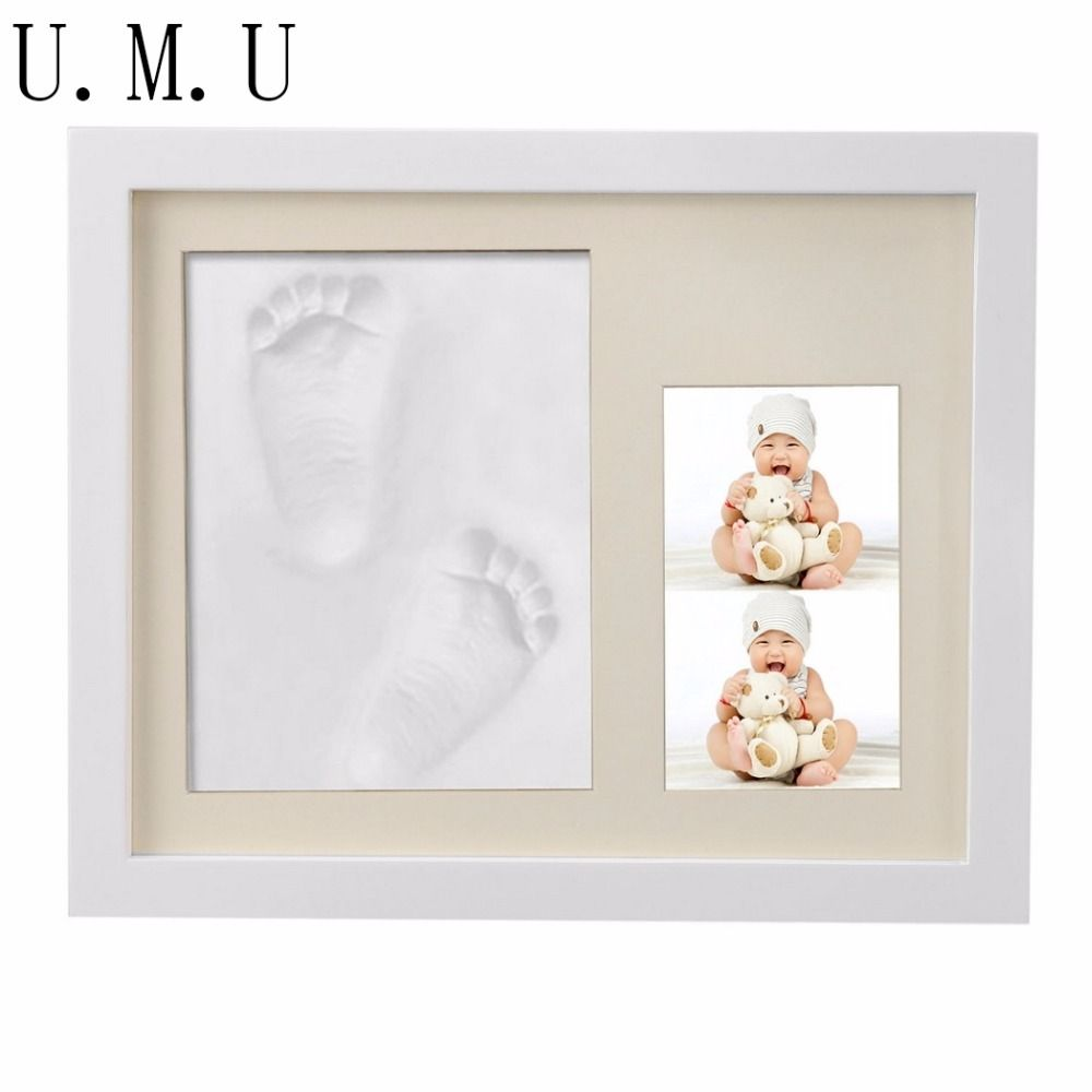Cute DIY Wooden Baby Photo Frame Handprint And Footprint Frame ...