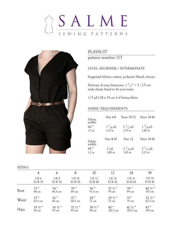 Playsuit PDF Sewing pattern | Sewing | Pinterest | Patrones de ...