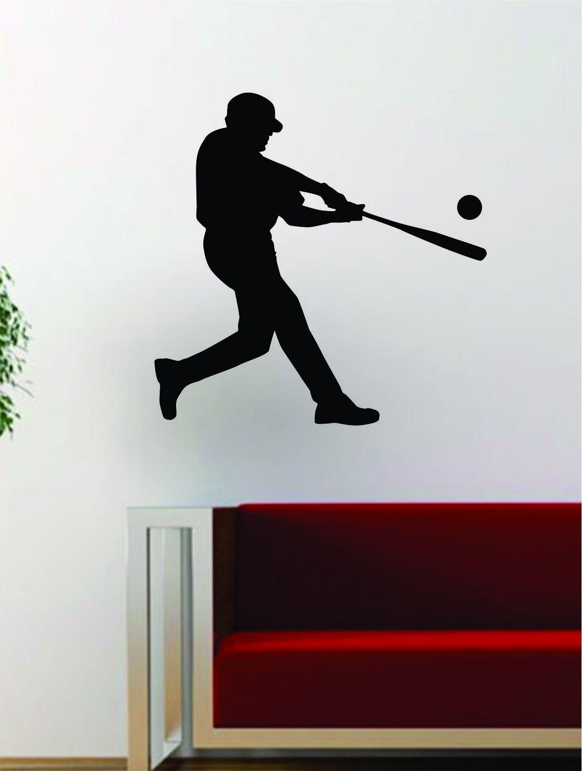 Baseball Player V Batter Home Run Decal Wall Vinyl Art Sticker - Vinyl vinyl wall decals baseball
