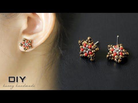 Beaded stud earrings DIY. Star earrings