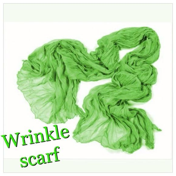 """Lime green wrinkle style scarf/wrap Lime green wrinkle sale scarf/wrap. Fabulous cotton blend easily ties multiple unique ways. Very pretty and a nice pop of color for summer!  Approx measurements are 63"""" X 31"""" Accessories Scarves & Wraps"""