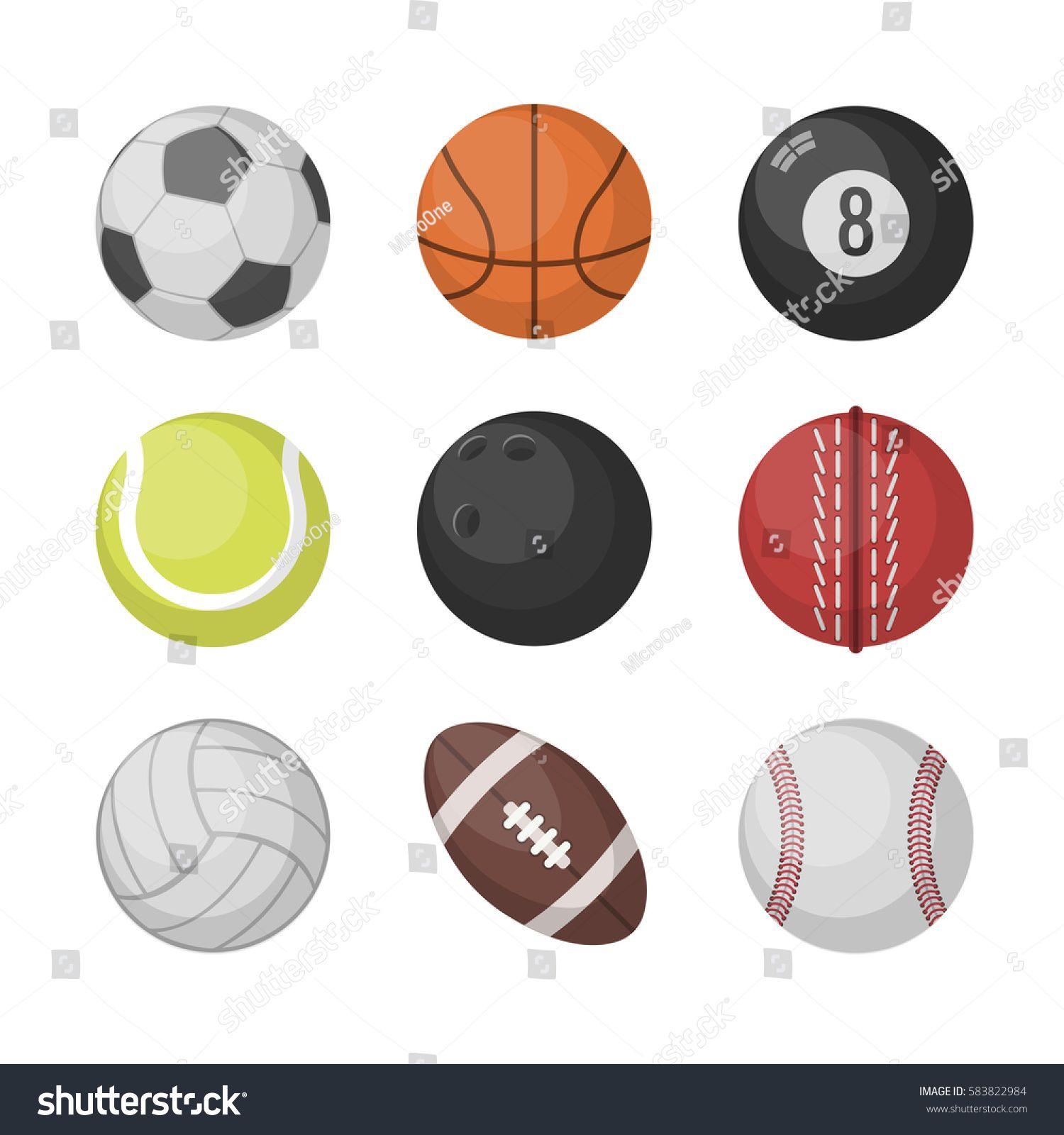 Sports Balls Vector Set Basketball Soccer Tennis Football Baseball Bowling Golf Volleyball Sponsored Ad Set Bask Sports Balls Sports Sport Soccer