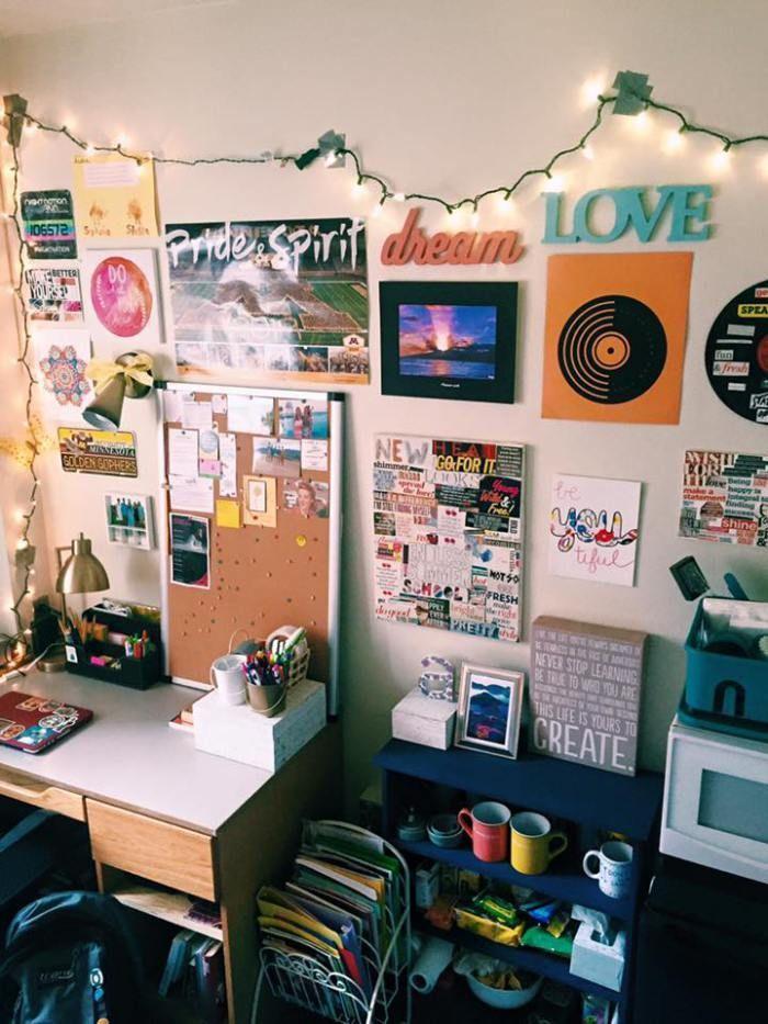 artistic, decoration, dorm room, girl , university of minnesota ...
