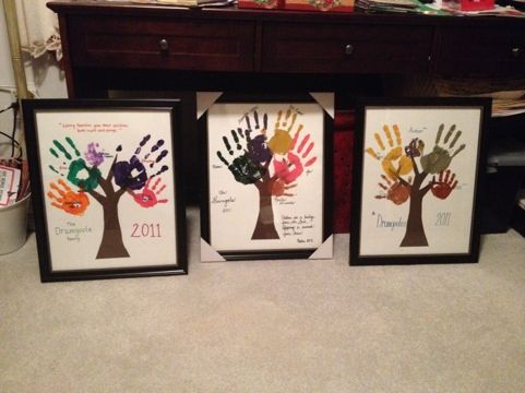 Grandparents gift family handprint trees from children for Homemade gifts from toddlers to grandparents